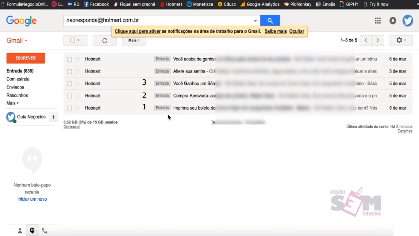 E-mail dos super bônus no GMail.