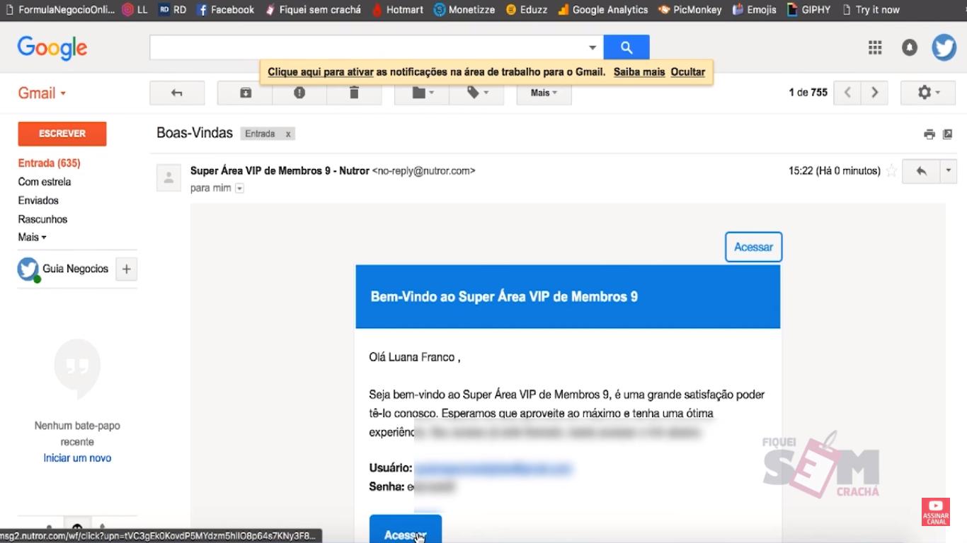 E-mail de boas vindas para acessar meus super bônus.